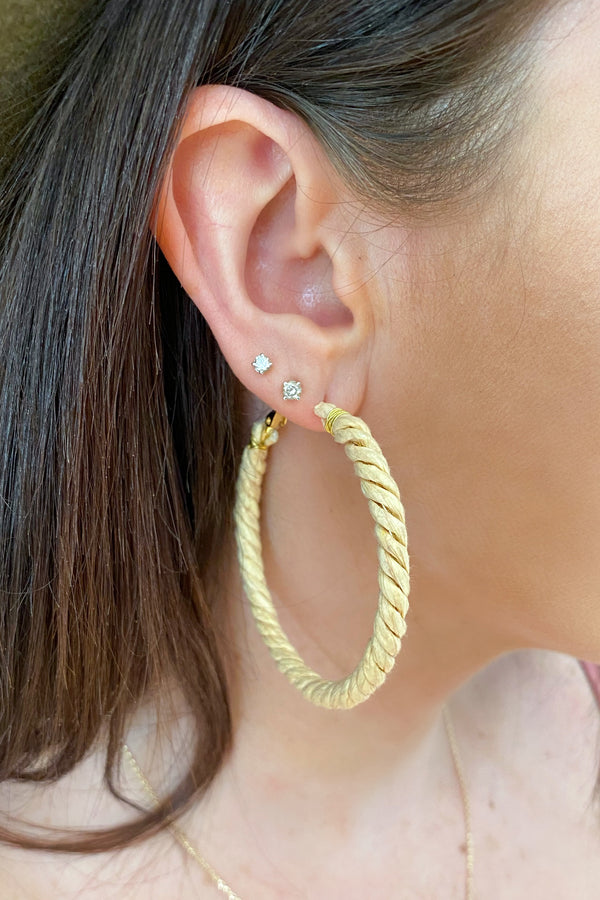 Tan Need a Vacay Wicker Wrapped Hoop Earrings - Madison and Mallory