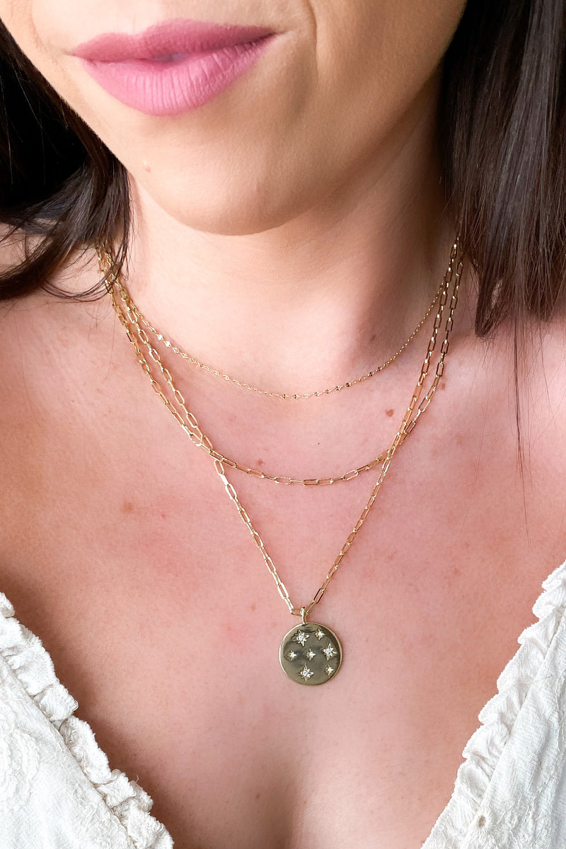 Gold Found a Light Crystal Star Coin Layered Necklace - Madison and Mallory