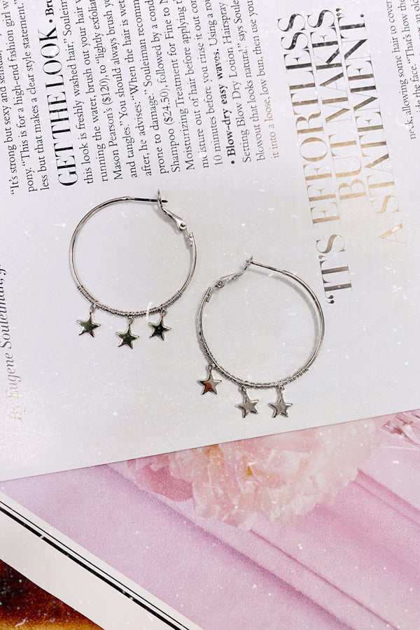 Triple Star Charm Hoop Earrings - Madison and Mallory