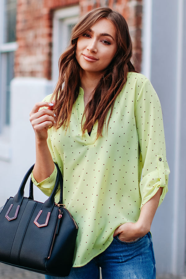 Calican Printed Top - Lime - Madison and Mallory