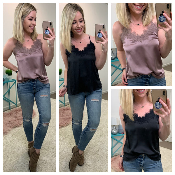 Kelsey Satin and Lace Top - Madison + Mallory