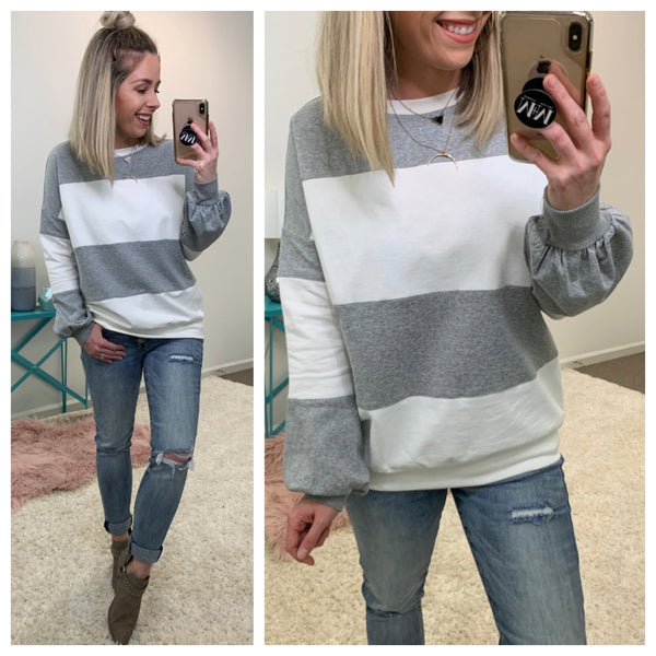 Just My Stripe Pullover - Madison + Mallory