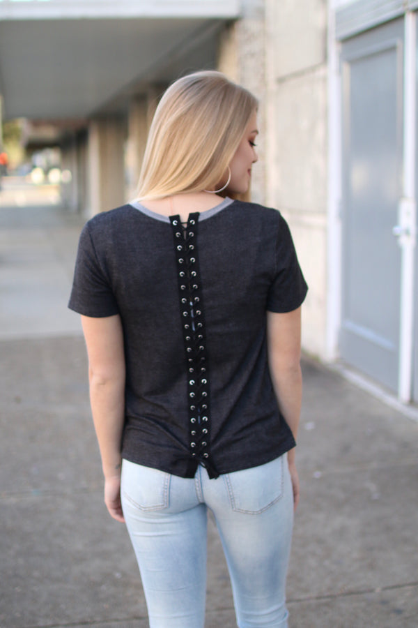 Black Lace Up Back Top - Madison + Mallory