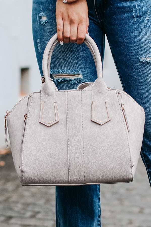 Light Gray Just Promoted Faux Leather Satchel - Light Gray - Madison and Mallory