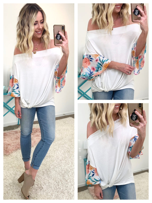 On My Own Flare Printed Sleeve Top