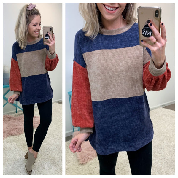 Keeps Getting Better Chenille Color Block Pullover - Madison + Mallory