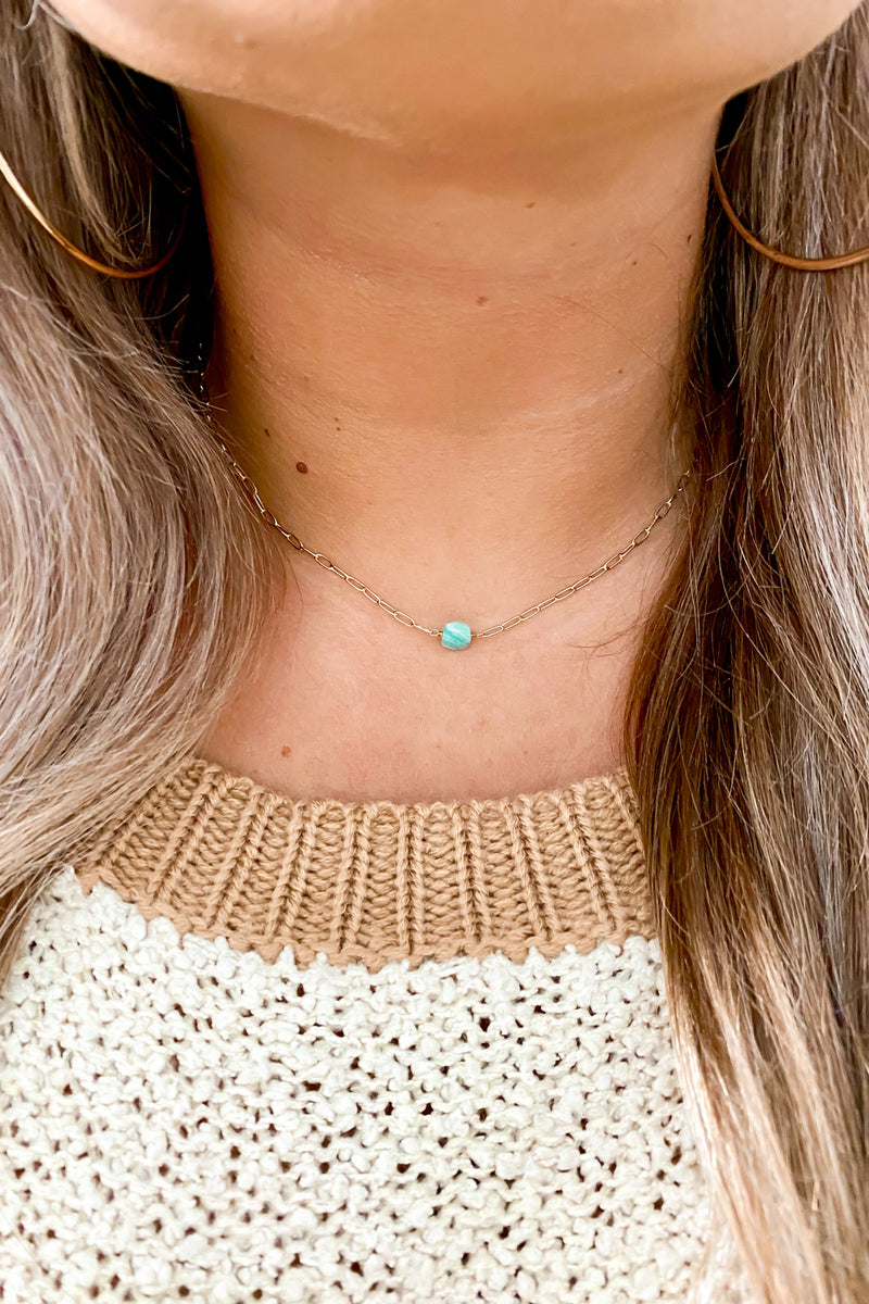 Mint Sereia Dainty Stone Necklace - Madison and Mallory