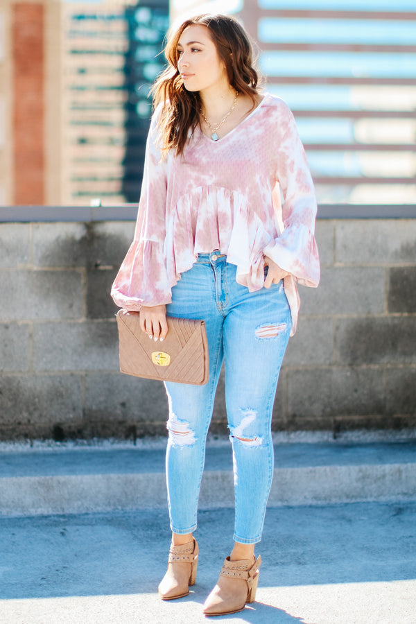 Fortuna Tie Dye Peplum Top - Madison + Mallory