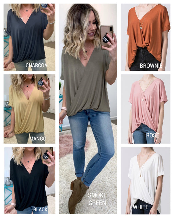 Faux Tuck Surplice Top - Madison + Mallory