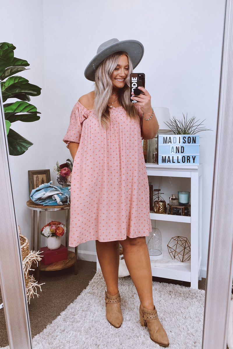 Say Something Sweet Swiss Dot Babydoll Dress - Faded Coral - Madison and Mallory