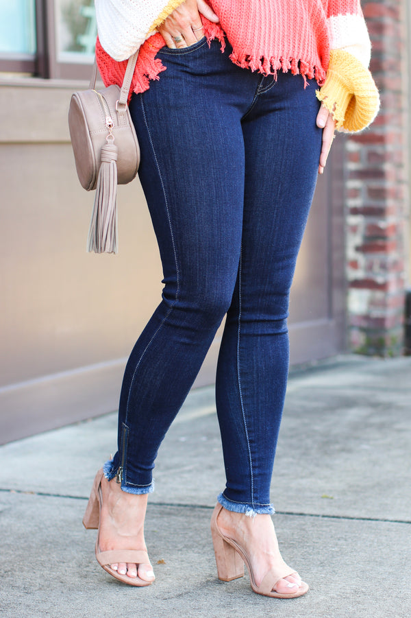 Grayson Zipper Detail Skinny Jeans - Dark Wash - FINAL SALE - Madison + Mallory