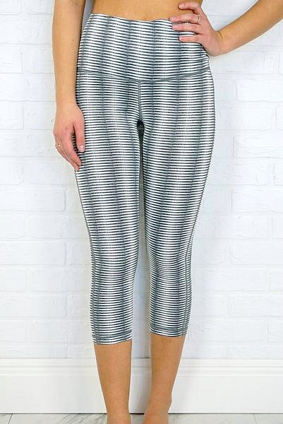 S / Gray Optical Stripe Leggings - Madison + Mallory