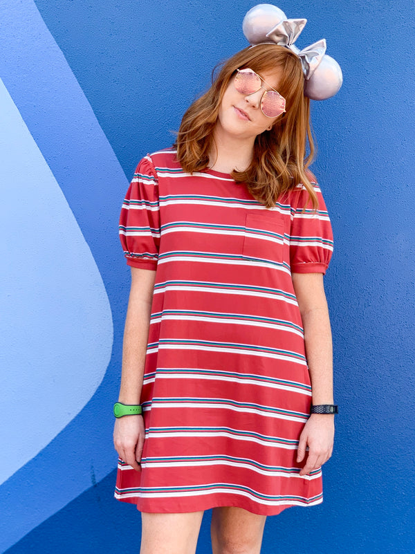Fall Together Striped Puff Sleeve T-Shirt Dress - Madison + Mallory