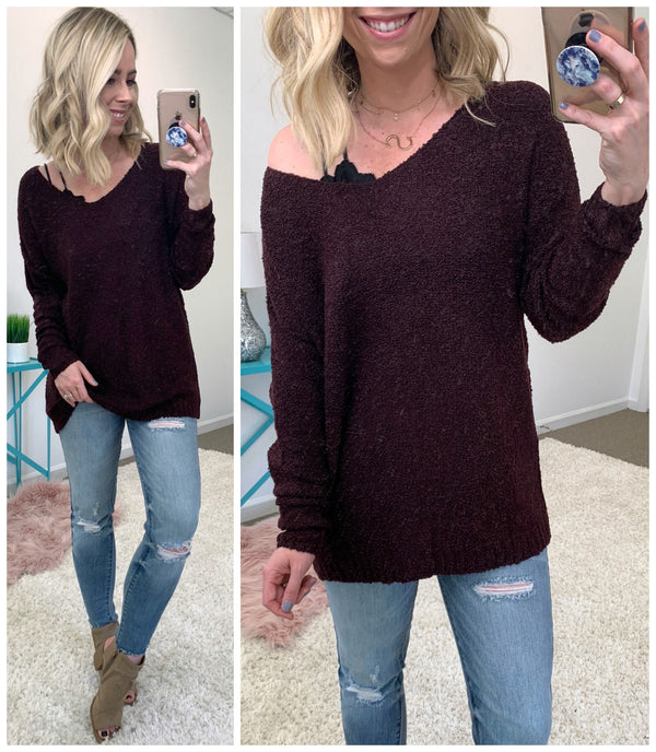 S / Plum Brielle Knit Sweater - Madison + Mallory