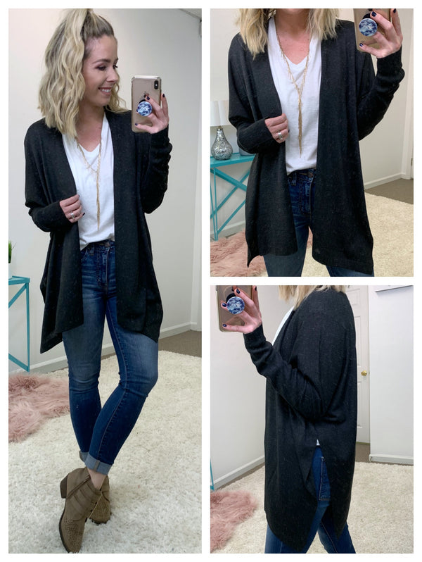 Flowy Side Split Cardigan - Madison + Mallory