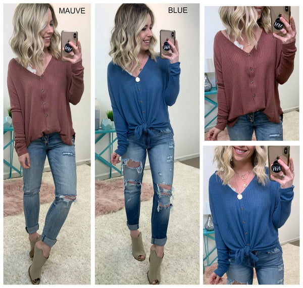 Adalee Waffle Knit Button Down Top - Madison + Mallory