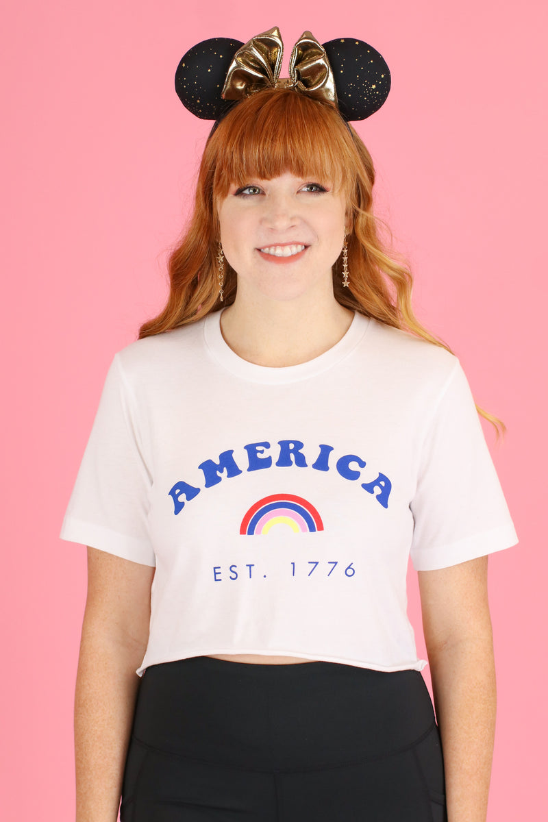 S / White America est. 1776 Graphic Crop Top - Madison and Mallory