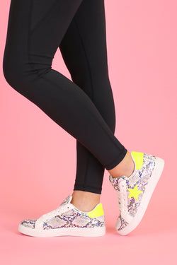Lemon Snake / 5.5 Get On Your Level Star Accent Sneakers - Lemon Snake - Madison and Mallory