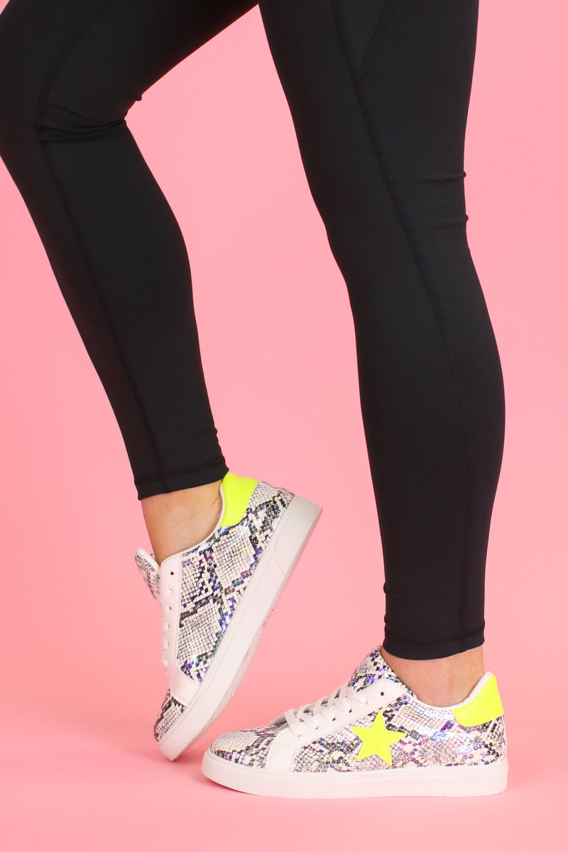 Get On Your Level Star Accent Sneakers - Lemon Snake - Madison and Mallory