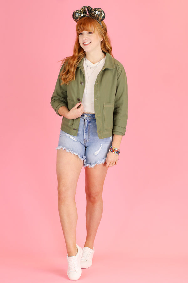 S / Olive Nuala Utility Jacket - Madison and Mallory