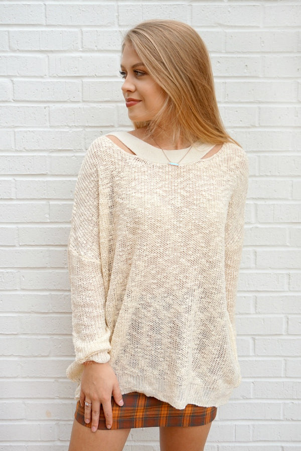 S/M / Cream Knit Cross Back Sweater | Curve - Madison + Mallory
