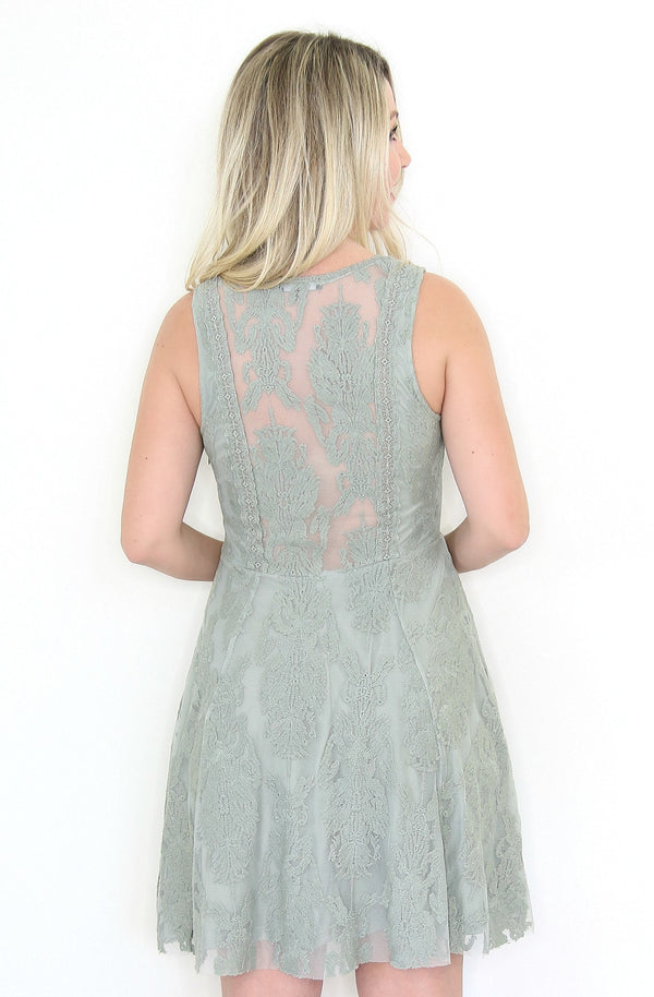 V-Neck Sleeveless Lace Dress - Madison + Mallory