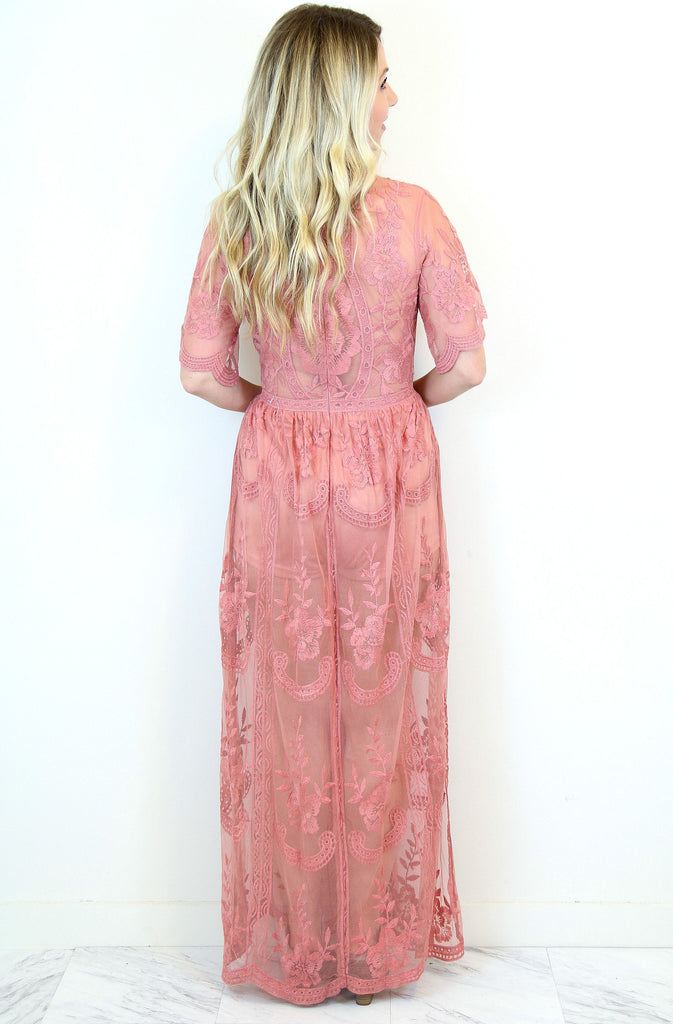 Coral Lace Maxi Dress