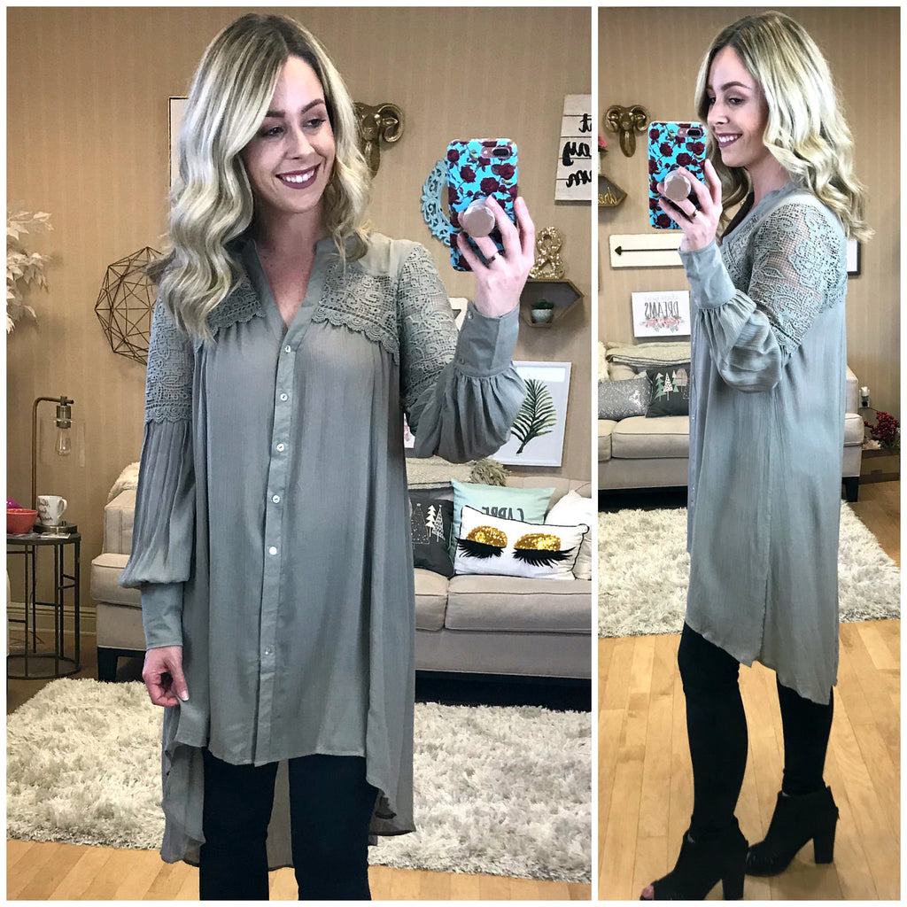 Button Down Lace Tunic Top