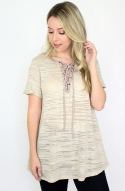 S / Tan Lace Up Tee | Curve - Madison + Mallory