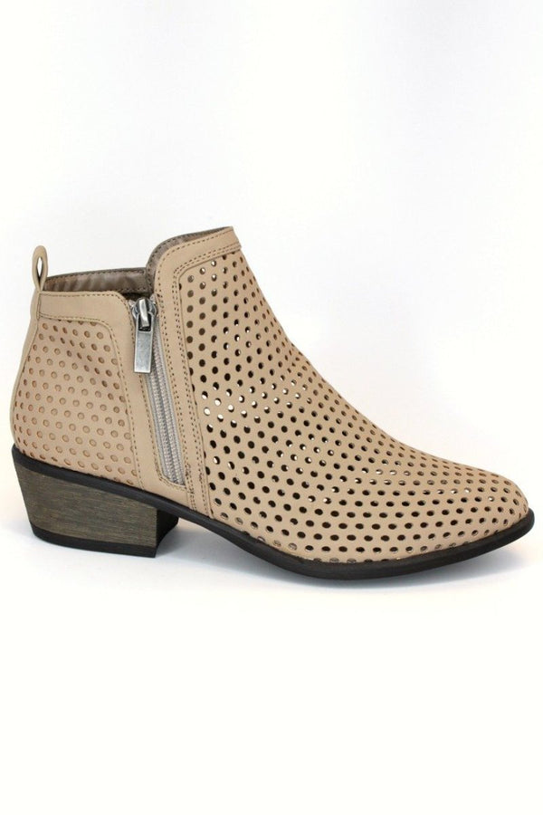 7 / Tan Laser Cut Booties - FINAL SALE - Madison + Mallory