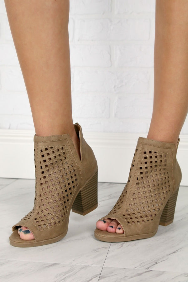 Laser Cut Peep Toe Booties - Madison + Mallory