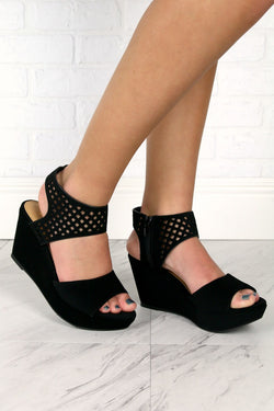 6 / Black Laser Cut Wedges - FINAL SALE - Madison + Mallory