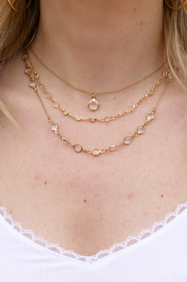 OS / Gold Layered Love Crystal Necklace - Madison + Mallory