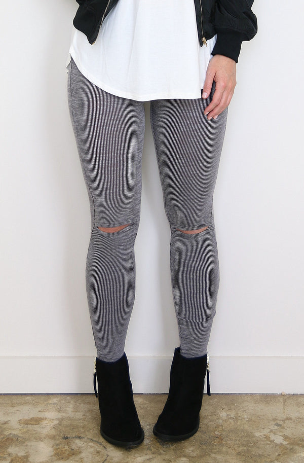 Gray Ribbed Leggings - Madison + Mallory
