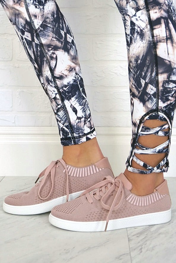 Mauve Knit Sneakers