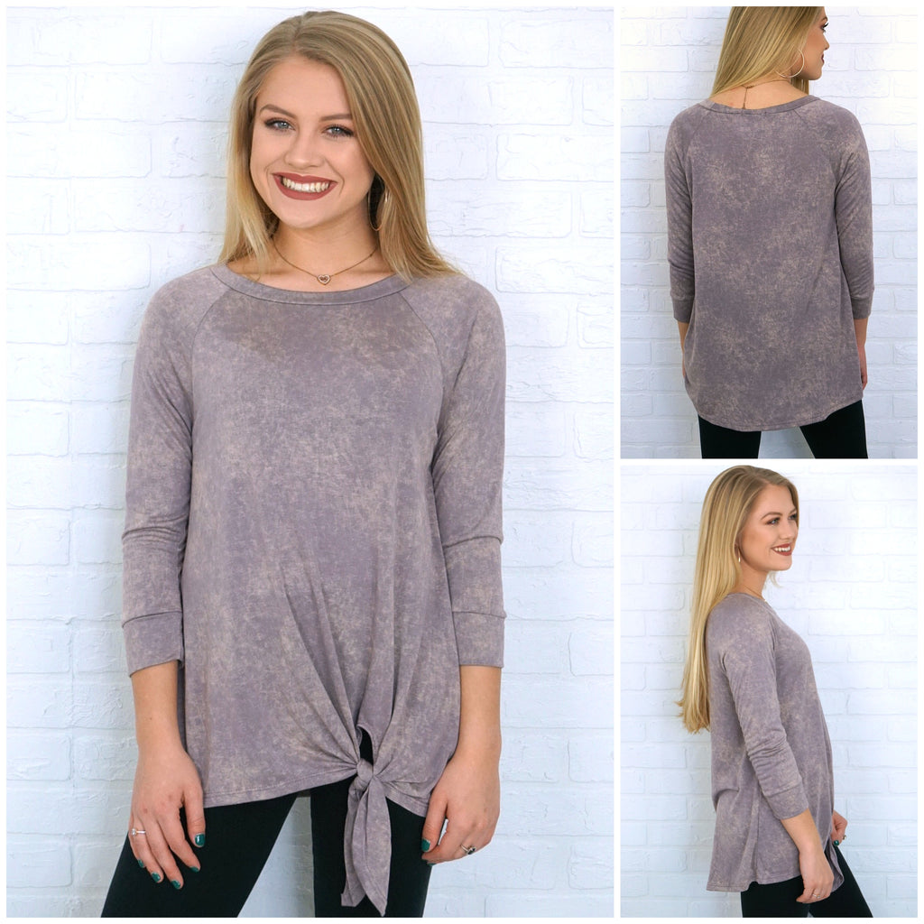 Mineral Washed Knotted Top | CURVE