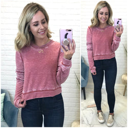 Mineral Washed Ruffle Detail Sweatshirt - Madison + Mallory