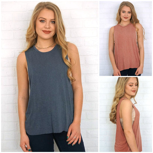 Mineral Washed Muscle Tank - Madison + Mallory
