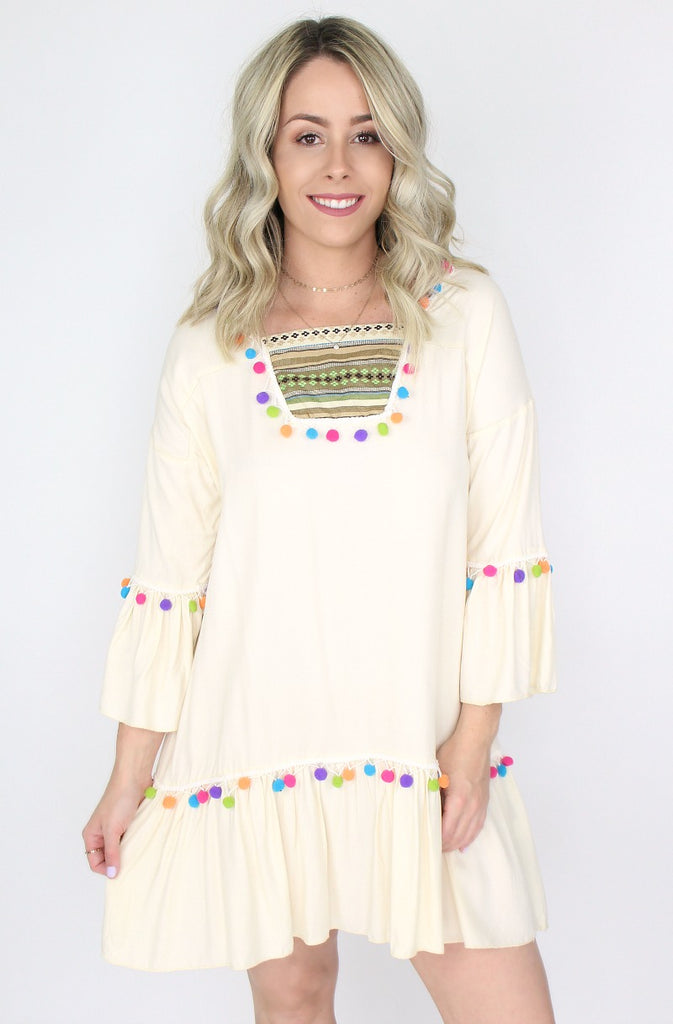 Multi Color Pom Pom Dress | Curve