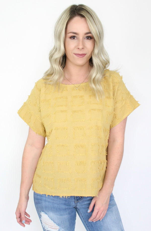 S / Mustard Scattered Sunbeams Top - FINAL SALE - Madison + Mallory