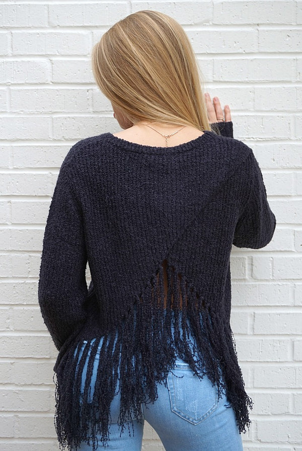 Fringe Detail Sweater - Madison + Mallory