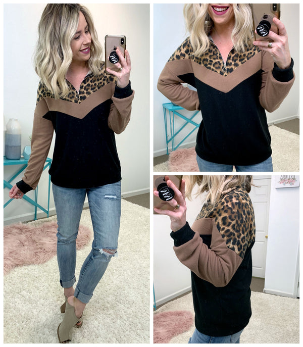 Wonderfully Wild Leopard Pullover - Madison + Mallory