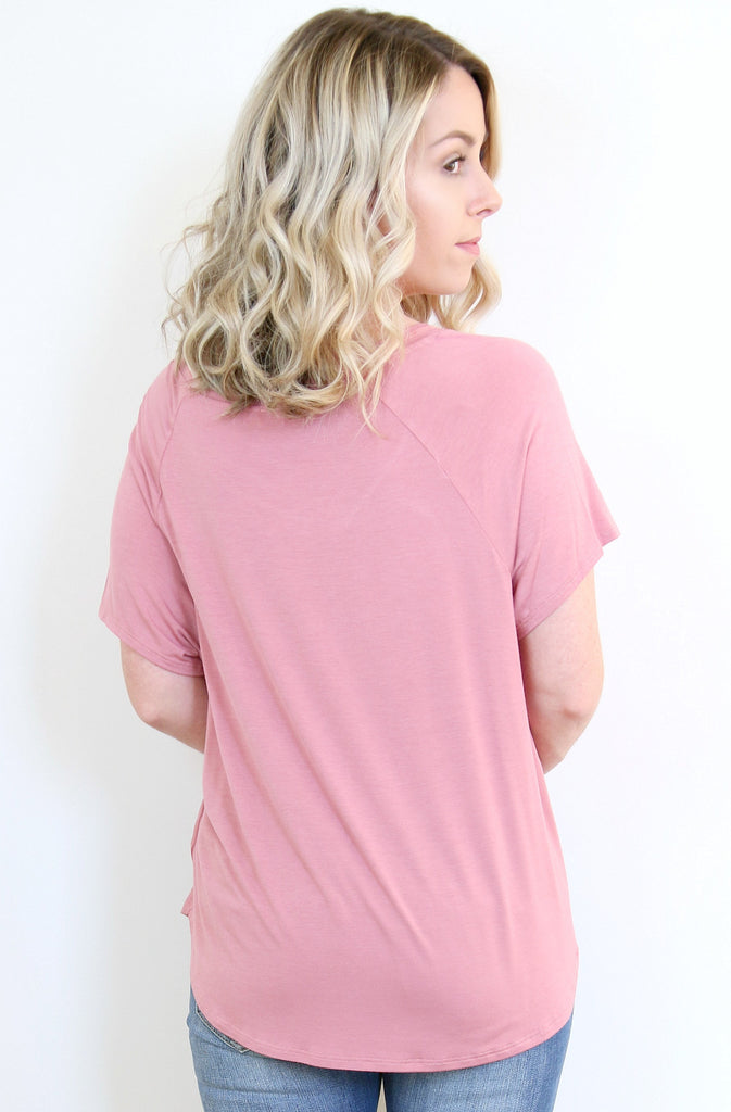 Dusty Rose V-Neck Tee