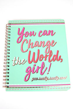 OS You Can Change the World, Girl Notebook - Madison + Mallory