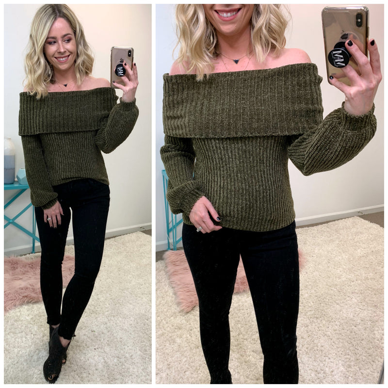 Rosaleen Off Shoulder Chenille Sweater - Madison + Mallory