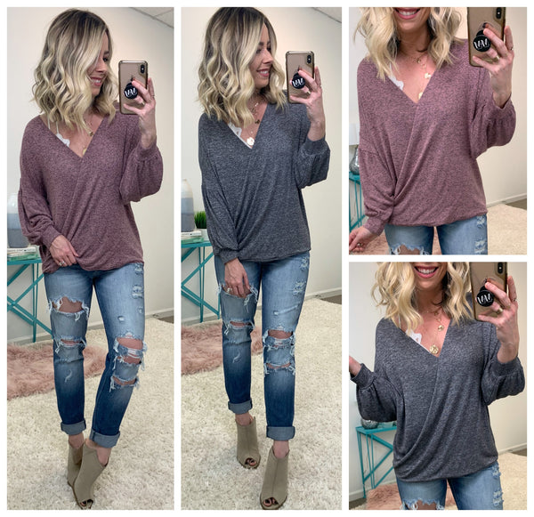 Thane Draped Knit Top - Madison + Mallory