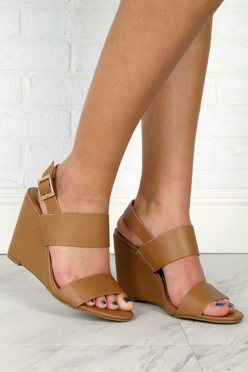 Tan / 6 Double Band Wedge Heels - Madison + Mallory