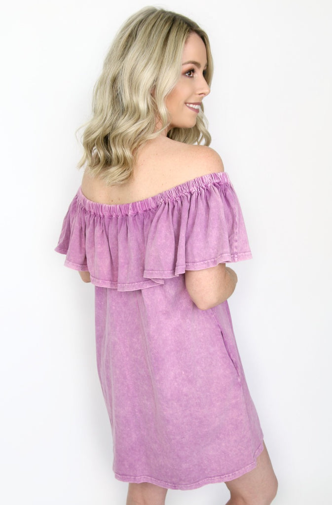 Mineral Wash Off Shoulder Dress - Madison + Mallory