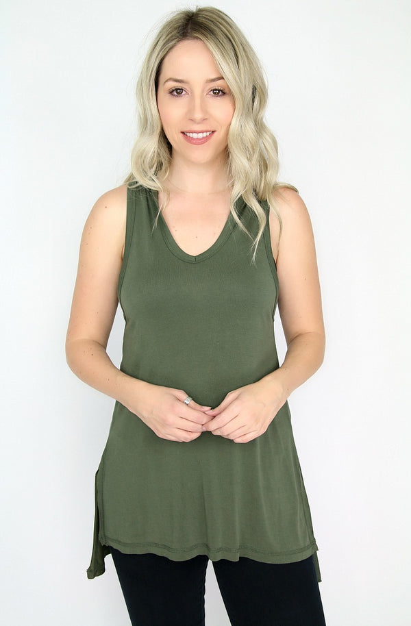 0 / Olive High Low Hoodie Top - Madison + Mallory
