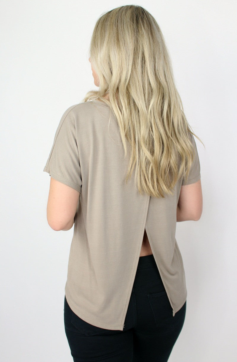 Short Sleeve Open Back Top - Madison + Mallory